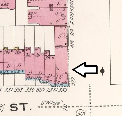 A Sanborn Fire Insurance map shows 339 Macon as it sat in 1908. The building was put up at some point between 1880 and 1886.