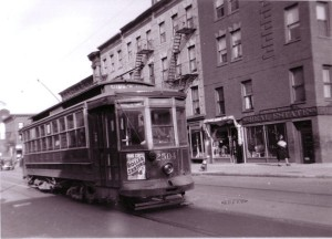The Sumner Avenue trolley at the corner of Macon Street and Sumner Avenue, where a similar trolley was passing at the time of the explosion.