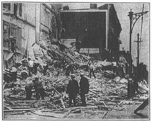 The aftermath of the explosion at the corner of Macon Street and Sumner Avenue.