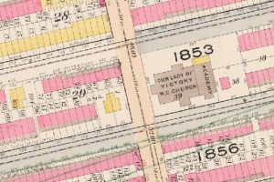 1897-8 Sanborn Map showing the original structures at the corner of Throop and MacDonough.