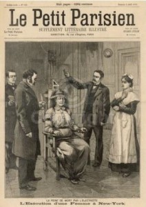 The French view of American capital punishment by electric chair. France would abolish their form of the electric chair, the guillotine, in 1906.