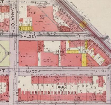 Map showing (l to r) the Arcadia Dance Hall, the Halsey Theater, and the Broadway Arena.
