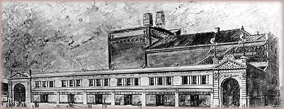 Architectural drawing of Arcadia Dance Hall (with The Halsey Theatre in the background._)