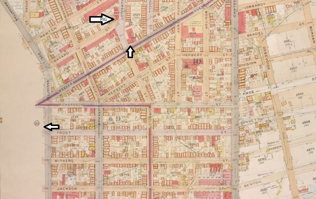 Top arrow = pig's home, 314 Bayard; middle arrow = precinct house; bottom arrow = Walsh's home, 393 Ewen