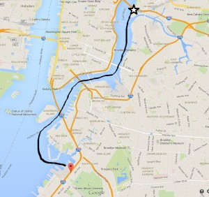 James Fallon's trek from Hunter's Point to Red Hook - with a bullet in his head.